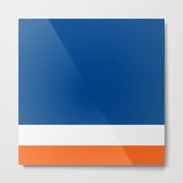 UNEVEN BRILLIANT BLUE DAZZLING WHITE COSMIC ORANGE STRIPED Metal Print