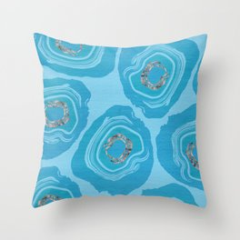 Sliced Blue Geode Eggs With Rose Quartz Accents Throw Pillow