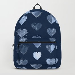 Denim Patch Boro Embroidery Hearts Backpack