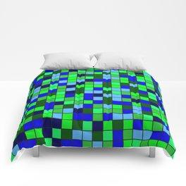 Aqua Squares Comforters