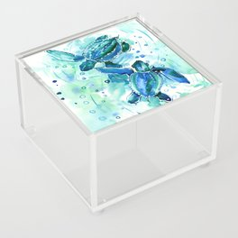 Turquoise Blue Sea Turtles in Ocean Acrylic Box