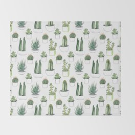 Watercolour Cacti & Succulents Throw Blanket
