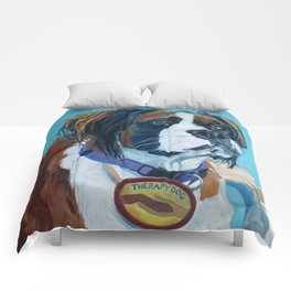 Nori the Therapy Boxer Dog Portrait Comforters