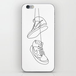 Sneakers simple minimal one line art, hanging shoes branded shoes  iPhone Skin
