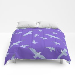 purple seagull day flight Comforters