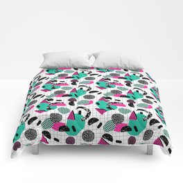 Cha Ching - abstract throwback memphis retro 80s 90s pop art grid shapes Comforters