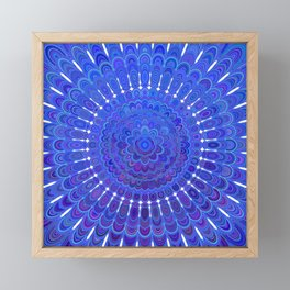 Blue Floral Mandala Framed Mini Art Print