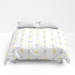 Modern gray pastel yellow hand painted floral polka dots Comforters
