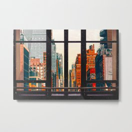 New York City Window #2-Surreal View Collage Metal Print