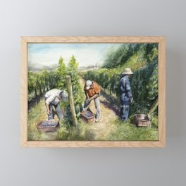 Vineyard Watercolor Landscape Wine Grapes Nature Framed Mini Art Print