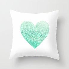 SEAFOAM HEART Throw Pillow