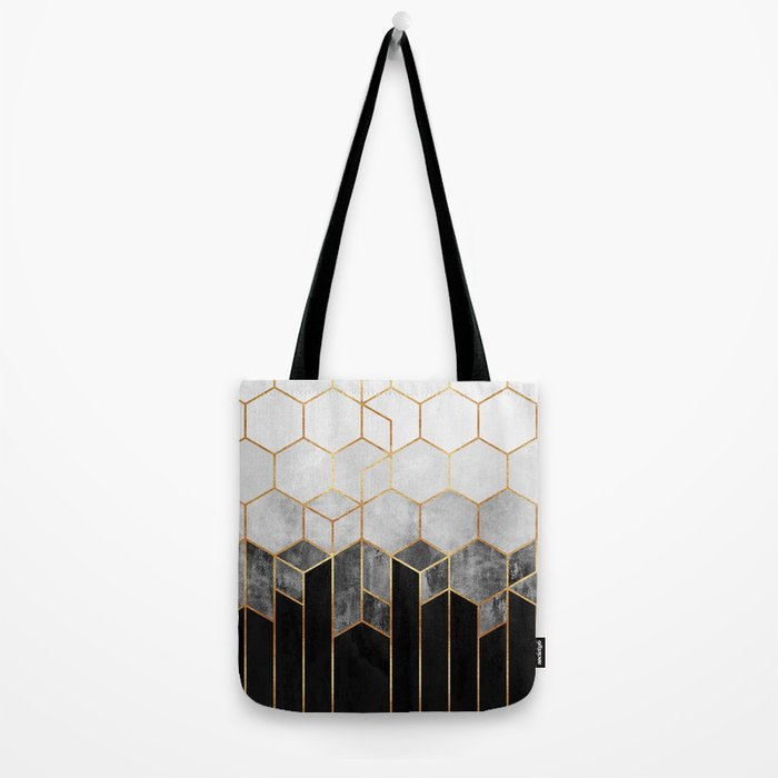 Charcoal Hexagons Tote Bag