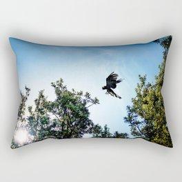 Yellow-Tailed Black Cockatoo Jumping Between Trees Rectangular Pillow