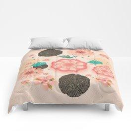 Floral Ornament, Flying Peacock Spring Peach Garden, Decorative Pink Flowers, blossom sakuras BOHO Comforters