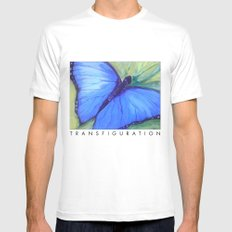 Blue Butterfly: Transfiguration Mens Fitted Tee White MEDIUM