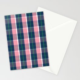 Navy Green Pink White Preppy Plaid Stationery Cards
