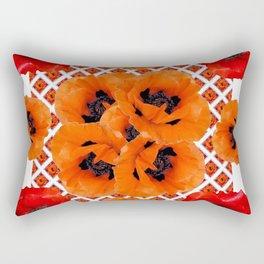 DECORATIVE RED & ORANGE POPPY FLOWERS PATTERN ART Rectangular Pillow