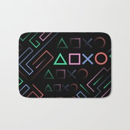 Playstation Buttons Maze Lines Bath Mat