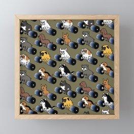 5 plates deadlift Puppies Framed Mini Art Print