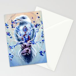 White Raven Bird with Mouse Skulls and Fruit Stationery Cards