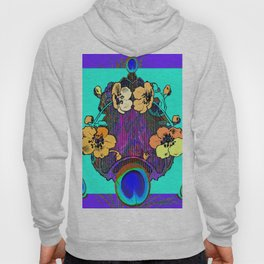 Decorative Modern Purple Iris Color Golden Pattern  Art Hoody