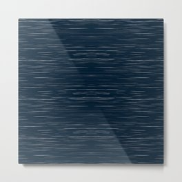 Meteor Stripes - Dark Denim Metal Print