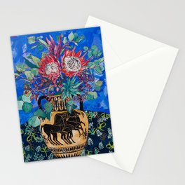 Painterly Bouquet of Proteas in Greek Horse Urn on Blue Stationery Cards
