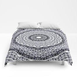 BLACK AND WHITE DOODLE MANDALA Comforters