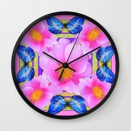 Blue Silken Butterflies Pink Camellias Patterned Abstract Wall Clock