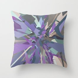 Fractured Grey Purple Blue - Abstract Art by Fluid Nature Throw Pillow