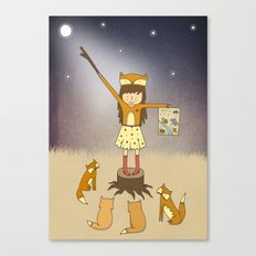 Little Fox Girl Canvas Print