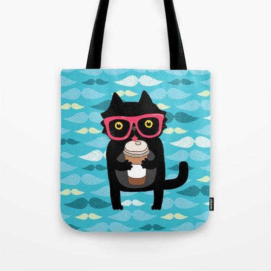 Black cat + coffee Tote Bag