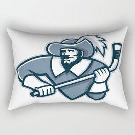 Musketeer Ice Hockey Mascot Rectangular Pillow