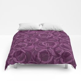 Seamless pattern with circles on purple background Comforters