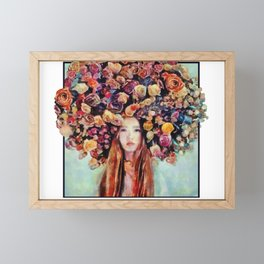 Flower Head Girl Design Framed Mini Art Print