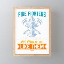 Fireman comrades Hydrant Framed Mini Art Print