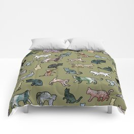 Cats Shapes Marble - Olive Green Comforters