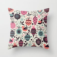 Birds and Baubles  Throw Pillow