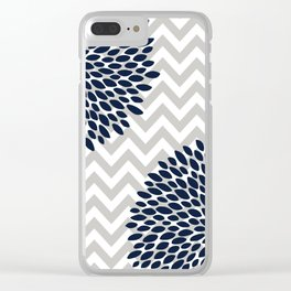 Chevron Floral Modern Navy and Grey Clear iPhone Case