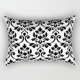 Feuille Damask Pattern Black on White Rectangular Pillow