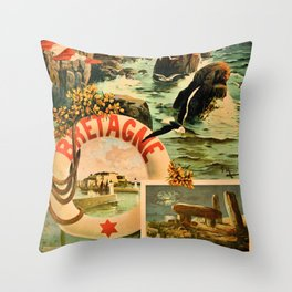 Bretagne Brittany Hugo d'Alesi 1895 French travel Throw Pillow