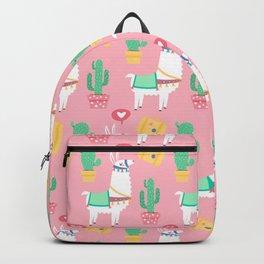 Cute Alpaca & Cactus Pattern Backpack
