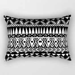 Black and White Hand Drawn Modern Tribal Aztec Rectangular Pillow