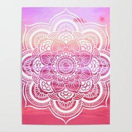 Water Mandala Hot Pink Fuchsia Poster