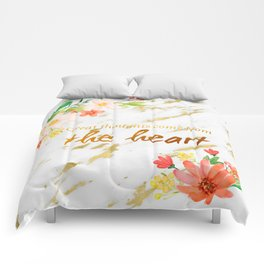 Marble - quote, Great Thoughts come from the heart - Gold and flowers Comforters