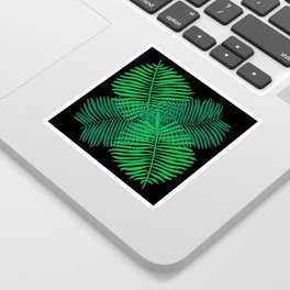 Modern Tropical Palm Leaves Painting black background Sticker