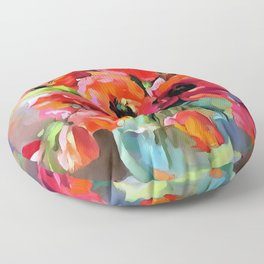 Poppies In A Glass Vase Floor Pillow