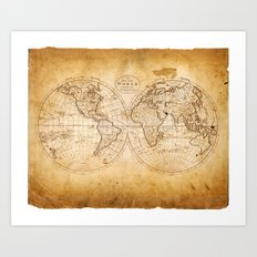 World in Hemispheres Art Print