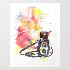 Vintage Rolleiflex Camera Painting Art Print