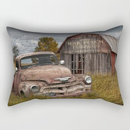 Rusted Pickup Truck with Mail Pouch Tobacco Barn Rectangular Pillow